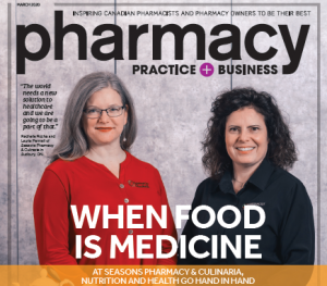 """Pharmacy Food + Business magazine cover, two women stand in behind a counter, behind the text """"when food is medicine, at seasons pharmacy and culinaria nutrition and medicine go hand in hand"""